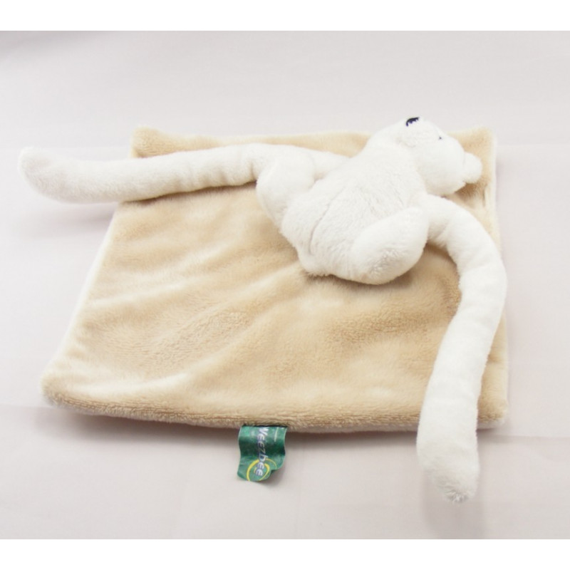 Doudou plat ours blanc grands bras WEEZBEE BNP PARIBAS