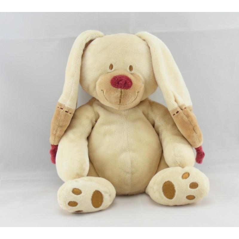 Doudou lapin beige bordeaux NICOTOY