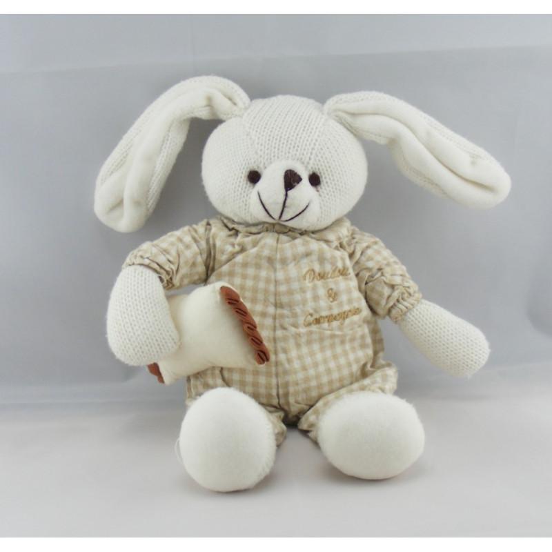 Doudou lapin vichy beige avec coussin DOUDOU ET COMPAGNIE