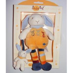 Doudou lapin avec bébé les doudous calins BABY NAT