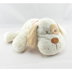 Doudou chien blanc cocard beige collier rouge KIABI