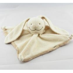 Doudou plat lapin écru foulard dessous beige NICOTOY