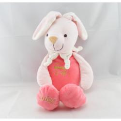 Doudou marionnette lapin rose avec bébé PLAYKIDS