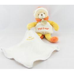 Doudou ours ptit doux bonnet orange avec mouchoir DOUDOU ET COMPAGNIE