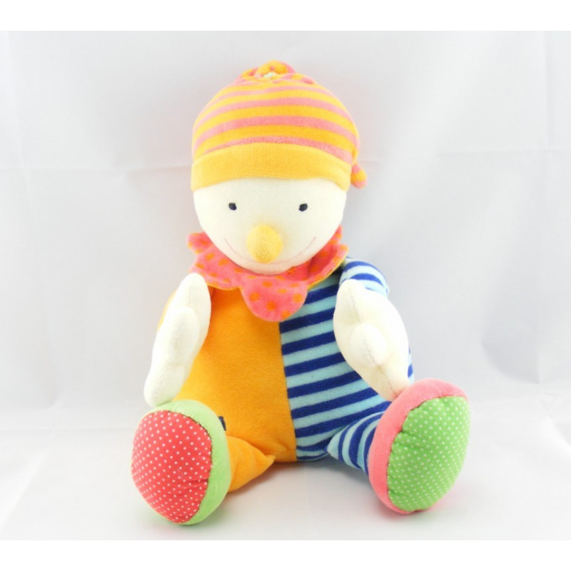 Doudou semi plat clown arlequin orange bleu BABYSUN