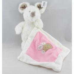 Doudou Souris blanche avec doudou mouchoir rose NICOTOY