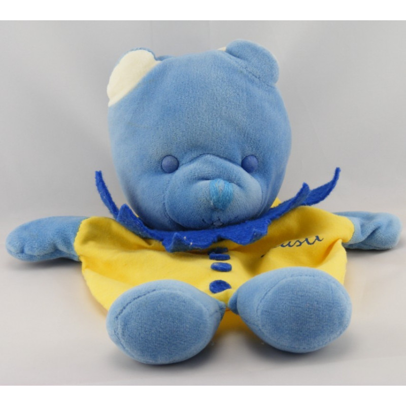 Doudou marionnette ours bleu jaune Musti MUSTELA