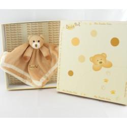 Doudou plat carré ours beige marron BABY NAT