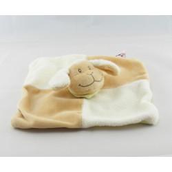 Doudou plat mouton agneau beige blanc foulard vert BENGY