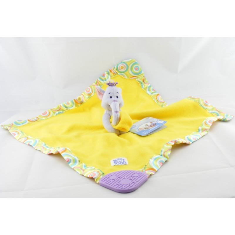 Doudou plat couverture jaune satin Lumpy l'éléphant Winnie Disney