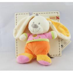 Doudou lapin rose orange vert coeur brodé NICOTOY