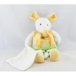 Doudou souris salopette vert jaune avec mouchoir BABY NAT
