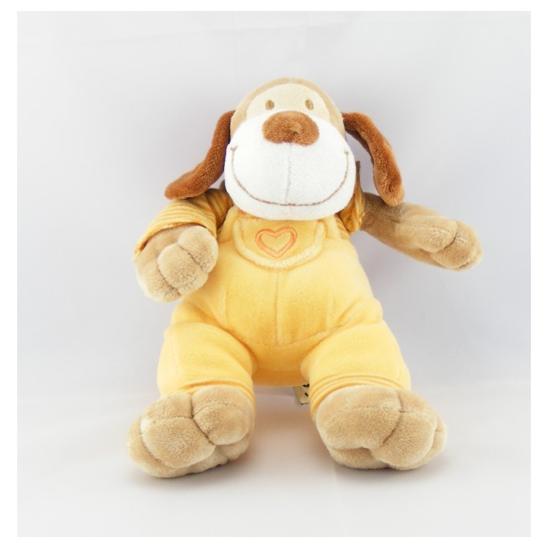 Doudou chien salopette jaune coeur maillot rayé MOTS D'ENFANTS