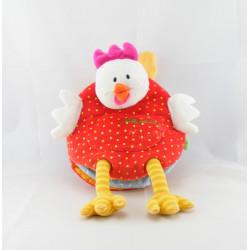 Doudou marionnette poule rouge pois LILLIPUTIENS
