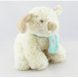 Doudou chien beige Scuba noeuds rose NOUKIE'S