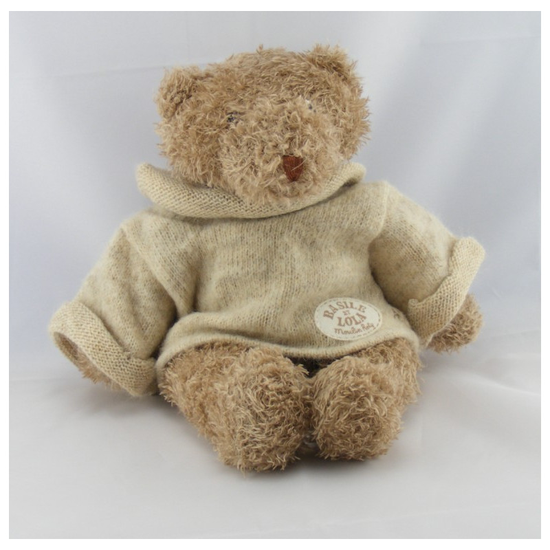 Doudou ours pull écru Basile et Lola MOULIN ROTY