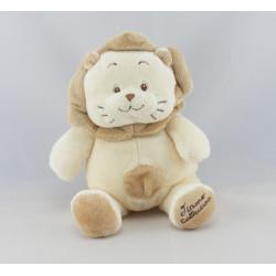 Doudou plat lion écru beige TIAMO
