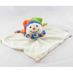 Doudou plat clown arlequin bleu vert orange BABY NAT
