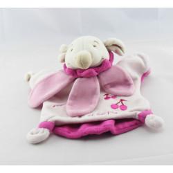 Doudou et compagnie marionnette ours col fleur pétale mauve violet