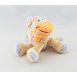 Doudou semi plat girafe vache beige taches orange rose NATTOU