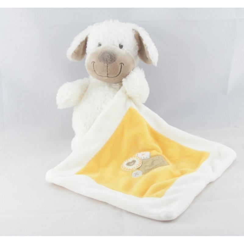 Doudou chien blanc avec doudou mouchoir jaune NICOTOY