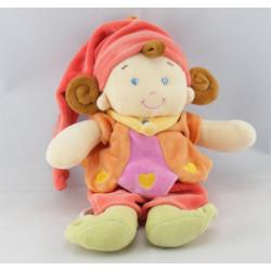 Doudou marionnette lutin fille arlequin rose orange NICOTOY