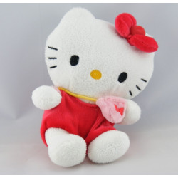 Peluche chat HELLO KITTY rouge rose SANRIO LICENSE