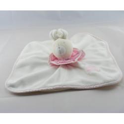 Doudou plat lapin blanc col rose MOULIN ROTY