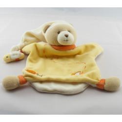 Doudou plat ours jaune orange abeille BABY NAT