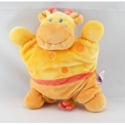 Doudou semi plat girafe jaune orange POMMETTE
