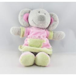Doudou souris rose  gris avec bébé coeur GRAIN DE BLE
