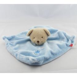 Doudou plat ours bleu fleur brodé TEX