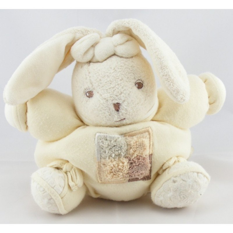 Doudou lapin patchwork gris marron sable KALOO