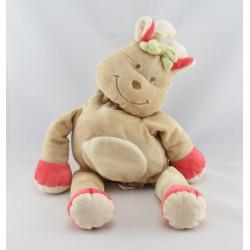 Doudou rhinocéros beige rouge foulard vert BENGY