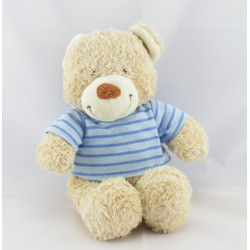 Doudou Ours Beige maillot pull rayé bleu Tex