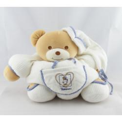 Doudou ours boule blanc rayé bleu poche coeur TAKINOU