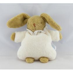Doudou lapin beige maillot bleu marine rayé Trousselier