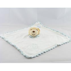 Doudou plat laine bleu ours avec bonnet KALOO