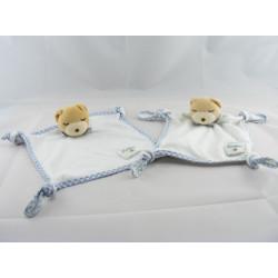 Doudou plat noeuds ours endormi vichy bleu Kaloo