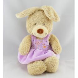 Doudou lapin robe rose mauve mouton TEX BABY