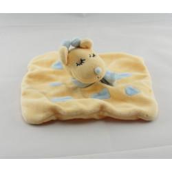Doudou plat girafe jaune taches bleues