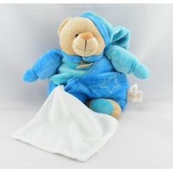 Doudou ours bleu étoiles avec mouchoir BABY NAT