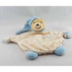 Doudou plat ours bleu blue laine KALOO