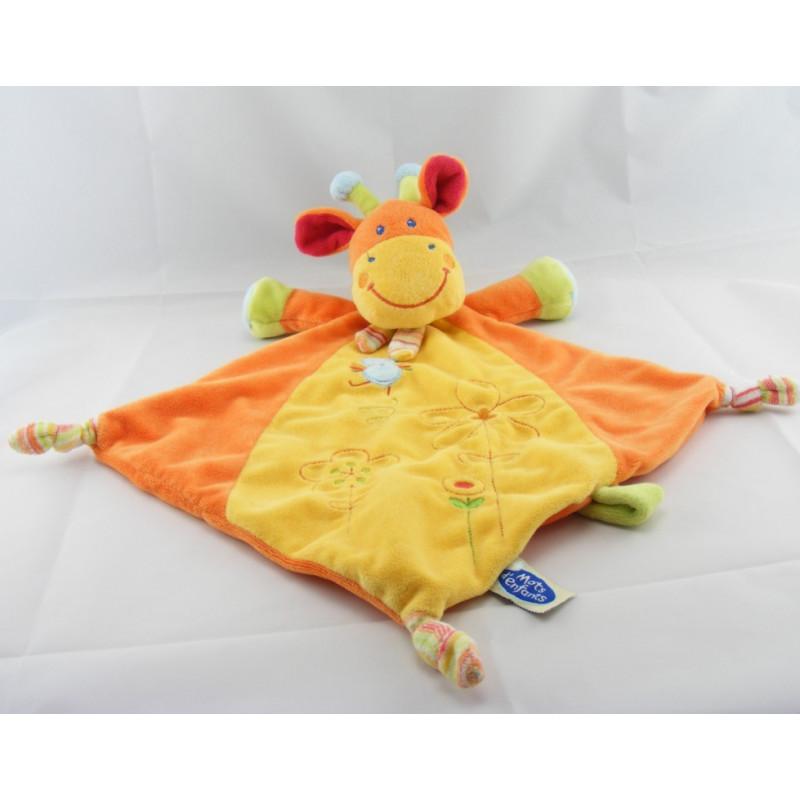 Doudou plat vache orange jaune oiseau MOTS D'ENFANTS