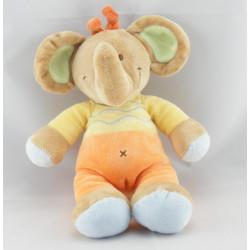 Doudou éléphant jaune orange NICOTOY