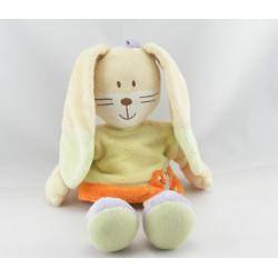 Doudou lapin jaune orange mauve Hello MOTS D'ENFANTS