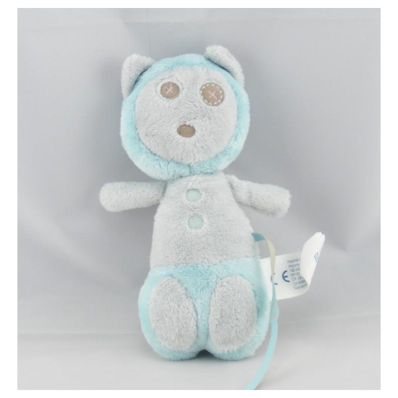 Doudou singe ours marron bleu OBAIBI