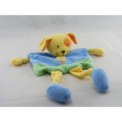 Doudou plat chien bleu vert jaune fleur POMMETTE
