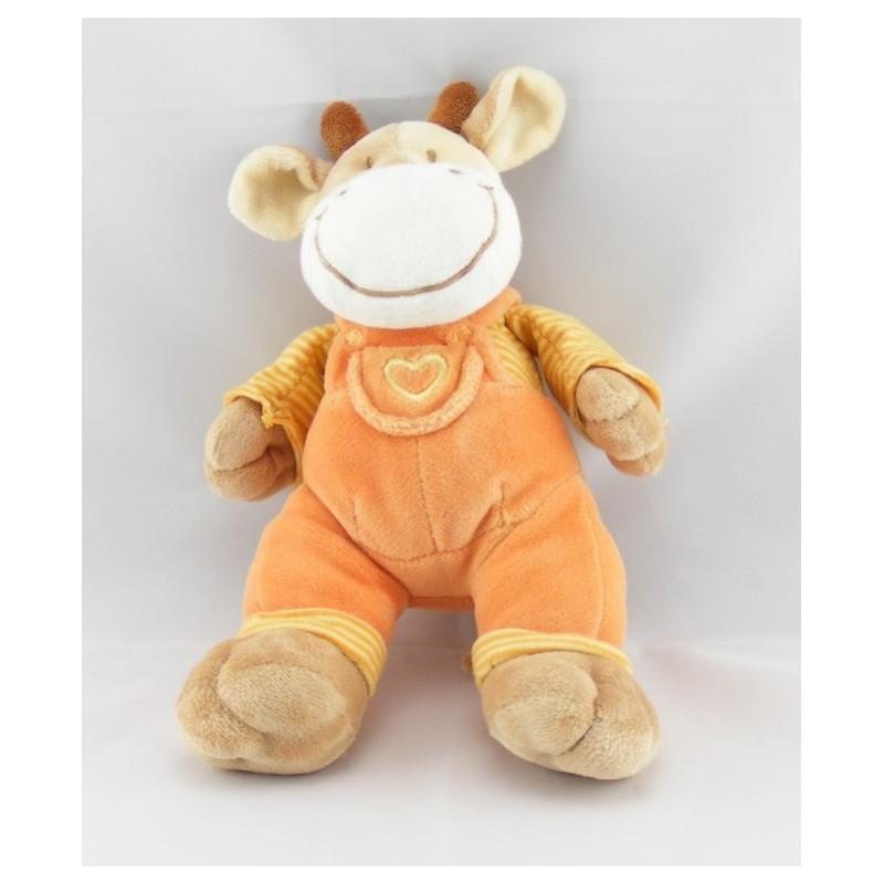 Doudou vache salopette orange coeur maillot rayé MOTS D'ENFANTS