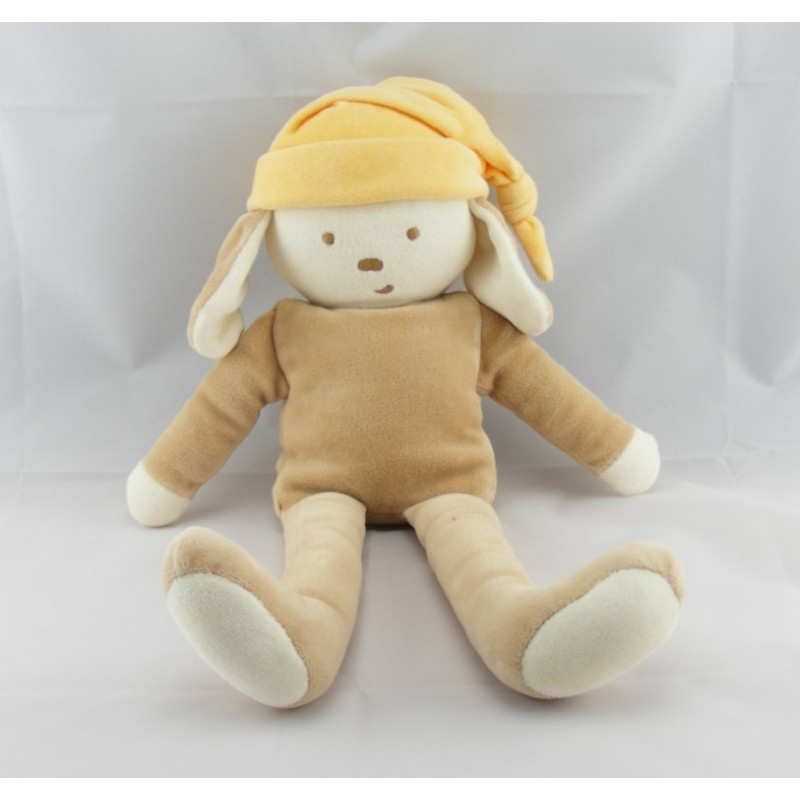 Doudou lapin chien beige bonnet orange COROLLE